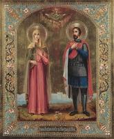 Александра Римская мученица, Александр Невский благоверный князь, икона (арт.03448)