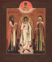 Василий Великий святитель, Ангел Хранитель, Александра мученица, икона (арт.03468)